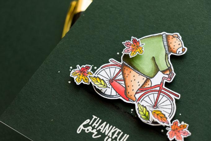 Jane's Doodles | Bear on a Bike Warm Hugs Card. Blog Hop