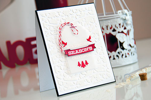 Clean & Simple Die Cutting #36. Faux Snow Background using texture paste, glitter embossin powder and dies. Video
